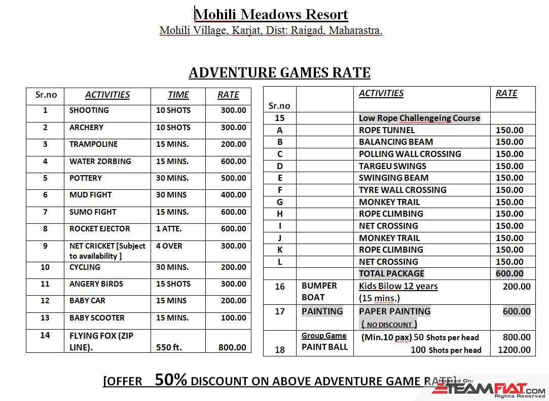 Mohili Meadows Resort Adventure Game Rates.JPG